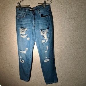 Forever 21 distressed boot cut jeans